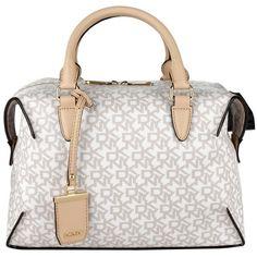 DKNY Handle Bags, Heritage Coated Logo Bowling Bag Hemp-Buff Handbag ($260) ❤ liked on Polyvore featuring bags, handbags, white, white purse, handle bag, zipper purse, dkny purses and dkny