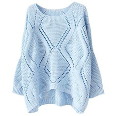 Womens Plain Crewneck Hollow Out Long Sleeve Knitted Sweater Blue (18 AUD) ❤ liked on Polyvore featuring tops, sweaters, long sleeved, blue, long sleeve tops, blue top, blue sweater, crew sweater and crew neck sweaters