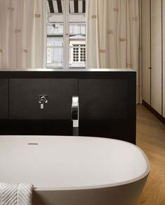 freestanding bath tub, bagnoire en ilot, wanna wolnostojąca, Agape, Dornbracht, pearl, curtains we do design.pl - Lifestyle Interior Design : Paris St Honore