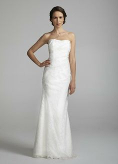 David's Bridal Wedding Dress: Strapless Linen Burnout Fit to Flare Gown Style 875218: