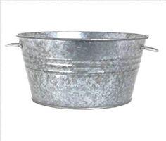 Houston International 6087 19-Inch Steel Planter/Tub, Silver