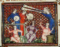 "Musicians, from Chretien Legouais,""Ovide Moralise"". Renaissance Music, Medieval Music, Medieval Life, Medieval Fashion, Medieval Clothing, Medieval Art, Medieval Manuscript, Illuminated Manuscript, British Library"