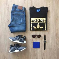 adidas Originals 'Santiago' Silicone Strap Watch* available at Teen Boy Fashion, Mens Fashion, Casual Outfits, Fashion Outfits, Nmd Outfits, Look Man, Outfit Grid, Adidas Outfit, Adidas Fashion