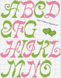 Gráfico Alfabeto - Ponto Cruz - 1000 Artes 3 of 4 cross stitch alphabet