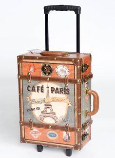 I soooo want this suitcase!!! leatherette trim paris design suitcase *