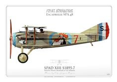 SPAD XIII, Service Aéronatique . French Air Force (WW1)  Escadrille SPA.48  Flown by Adj. Jacques Roques.  my painting