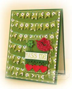 Kiss Me Card by Sankari Wegman #StPattysDay, #Cardmaking, #CuttingPlates, Graphic Greetings