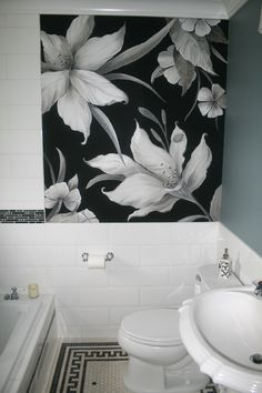 Bathroom mural painted on canvas and applied to wall. By artist Marsha Bowers of Zulim Bowers Designs