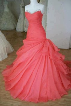 coral poofy prom dress!