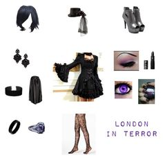 """London In Terror"" by lauravampire ❤ liked on Polyvore featuring DKNY, Lipstick Queen, Napoleon Perdis, Tasha, Miss Selfridge, West Coast Jewelry and NOVICA"