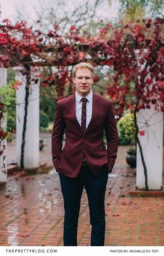 Maroon grooms suit with detailed maroon and white tie Romantic Times, Most Romantic, Groom Style, Groom And Groomsmen, Wedding Planning, Wedding Ideas, Winter Weddings, Wedding Photography, Bride