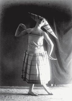 Romanian dancer, Lizica Codreanu, in a costume designed by Constantin Brâncuşi, ca 1924.