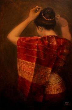 lao oil painting | Crimson Silk Painting by Sompaseuth Chounlamany - Crimson Silk Fine ...