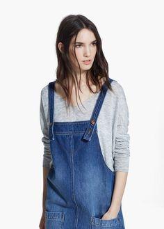 Orta açık yıkama kot önlük elbise | MANGO