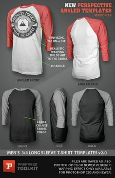 Ghosted 3/4 Long Sleeved T-Shirt Template PSD