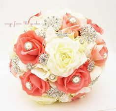 coral and navy wedding broach bouquet - Google Search