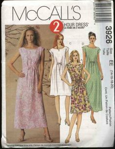 McCall's Sewing Pattern 3926 Misses Size 14-20 Pullover Loose-fitting A-line Sleeveless Summer Dress