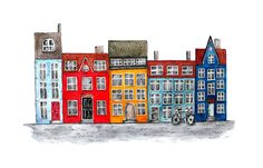 Art print of watercolor and pen & ink drawing of a row houses inspired by colorful houses along the river in Copenhagen, Denmark.