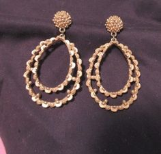 Gold Tone teardrop #earrings  Ball studs scalloped effect #pierced #jewelry nice #unknown #Stud
