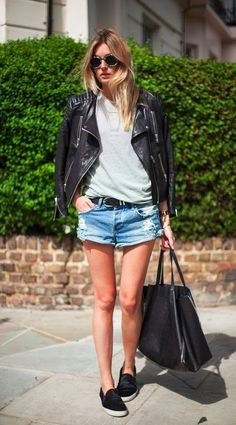 jacket + striped tee+ shorts + sneaks