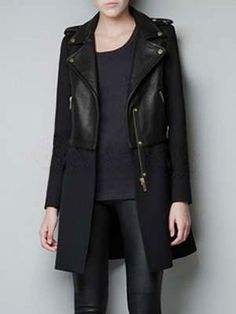 Cool Black Cotton Blend Zipper Women's Coat - Women's Coats - Outerwear - Women's Clothing