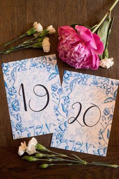 French blue toile watercolor floral vintage style wedding table numbers