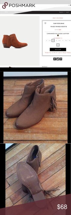 """Sam Edelman Paige fringe bootie Gorgeous booties size 7 1/2. Genuine leather, 1 1/2"""" stacked heel. Bought and wore once. They are slightly to big for me. My loss Is your gain. Perfect condition.  Price is firm. Sam Edelman Shoes Ankle Boots & Booties"""