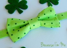 Sweet Boys St. Patrick's Day Bow Tie - Delightful green on green dot print, for infant, toddler, child, preteen