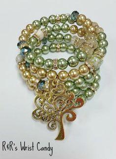Tree of Life Beaded Coil Bracelet by RandRsWristCandy on Etsy, $14.00