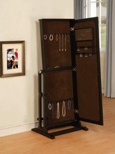 Powell Dakota Cheval Jewelry Wardrobe with Full-Length Mirror, Antique Black