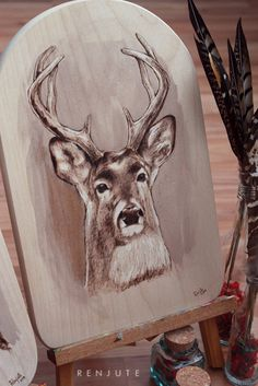 Deer portrait pyrography wood burning by FirePaintings on Etsy