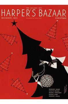 Harper's Bazaar December 1933 Cover Art By Erte