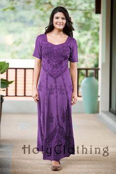Alexis Empire Waist Renaissance Gothic Embroidered Dress Gown - Dresses