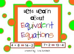 First and second graders spend a lot of time learning about addition and subtraction. Introduce them to equivalent equations with this smart board lesson. Math Resources, Math Activities, Equivalent Equations, Introduction Activities, Math Fractions, Teaching Fractions, Math 2, Subtraction Strategies, Smart Board Lessons