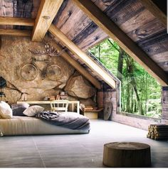 Dreamy bedrooms to help you relax and get a good night's sleep after a long day! Inspiration by Magpie Wedding Rustic Home Design, Dream Home Design, Home Interior Design, My Dream Home, Rustic Master Bedroom, Home Bedroom, A Frame House, Tiny House Cabin, Cabin Interiors