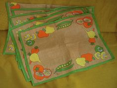 Vintage/Retro Table/Place Mats Linen Green/Brown with Vegetables x 5