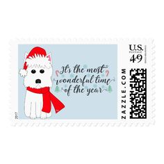 Westie Christmas Postage Stamps #christmas #postage #stamps