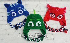 Crochet cat hatowl hat and gekko hat.Made to order.