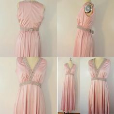 #VintageGown in Pink Floor, £30.00 by Juniper Vintage:   Vintage pink floor length gown with shiny fabric and silver embellishment along the neckline and waist.  Zips up the back, with a cute little bow at the back waist.  No tags.  Measurements with item laid flat:  Armpit to armpit across chest: 18 1/4 inches  (36 inch bust approx) Waist: 13 1/2 inches (approx 27 inches) Length from...