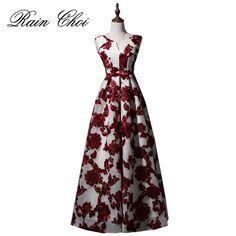 ccf0883ca3923 2018 Elegant Burgundy Long Evening Dresses Party A Line Women Beautiful Prom  Formal Evening Gown Dress Vestido De Noiva-in Evening Dresses from Weddings  ...