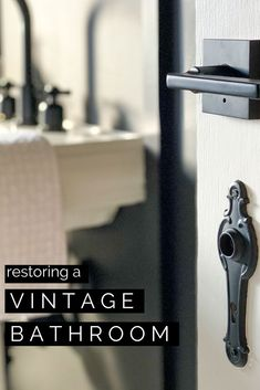 Classic Black and White Bathroom: Restoring Vintage Charm in This Historic Home for the Fall 2020 One Room Challenge Remodeling Mobile Homes, Home Remodeling, Interior Design Studio, Bathroom Interior Design, Frosted Glass Window, Cast Iron Bathtub, Black White Bathrooms, Mold In Bathroom, Old Home Remodel