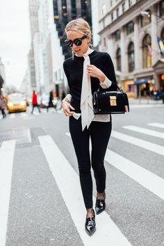 Tory Burch tie neck blouse, Alice + Olivia sweater #StreetStyle