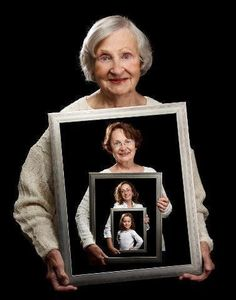 A mother photographed holding a picture of  her daughter.Then, the grand-mother is photographed holding the picture of her daughter holding her daughter's photo. Finally, the great grand-mother is photographed holding the picture of her daughter who is holding the picture of her daughter holding her daughter's picture.