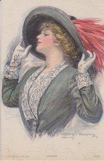 Clarence Underwood postcard ~ lady in gray Art Vintage, Moda Vintage, Vintage Cards, Vintage Prints, Vintage Ladies, Vintage Pictures, Vintage Images, Etiquette Vintage, Decoupage
