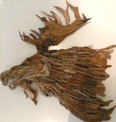 Driftwood Moose Head wall hanging by artist, Jennifer Szczyrbak.
