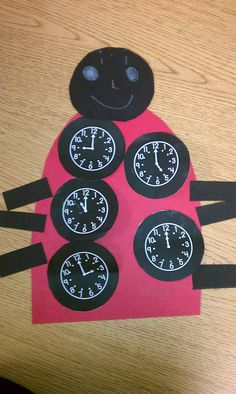 "The Very Grouchy Ladybug- Eric Carle  Time Ladybug- Students write digital time under clock ""spots""."