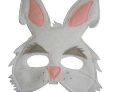 Children's Animal White RABBIT Felt Mask