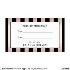 Chic Stripes Rose Gold Hair Salon Appointment Reminder Business Card Salon Business Cards, Business Card Design, Cut Pic, Rose Gold Hair, Cosmetology, Spa, Appointments, Salons, Eyeshadow