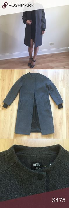 NEW Kate Spade Wool Coat Kate Spade Saturday Long Baseball Coat. Sold out everywhere!  Size XS. 88% wool 10% polyester 2% other fiber. Dry clean only. Chest 19in. Waist 18.5in. Length 36in. Sleeve about 20in to end of wool material, and additional 2in of soft sweater-like cuff sewn into sleeve. kate spade Jackets & Coats Pea Coats