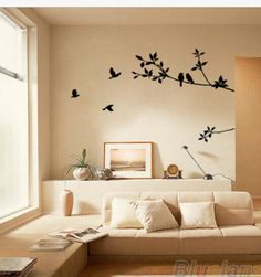 product details tree branch black bird wall stickers removable art blackbird decals amp peels